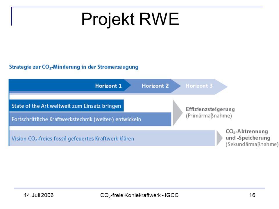 14.Juli 2006CO 2 -freie Kohlekraftwerk - IGCC17 CO 2 -Speicherung Quelle: RWE/IEA