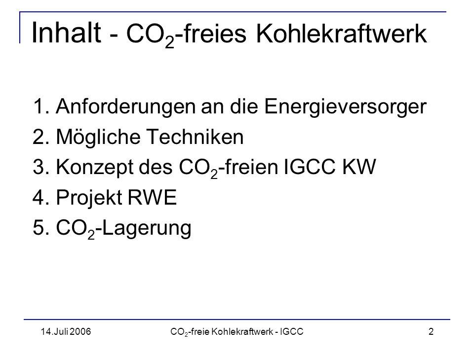 14.Juli 2006CO 2 -freie Kohlekraftwerk - IGCC3 Anforderungen an die EV Stromproduktion aus heutiger Politiksicht : –primär klimafreundlich –unbedingt kernenergiefrei, trotzdem CO 2 -frei –große Anteile regenerativer Energieträger, ergänzt durch Kohle –sicher und preisgünstig Forderungen können von der Stromwirtschaft nicht erfüllt werden