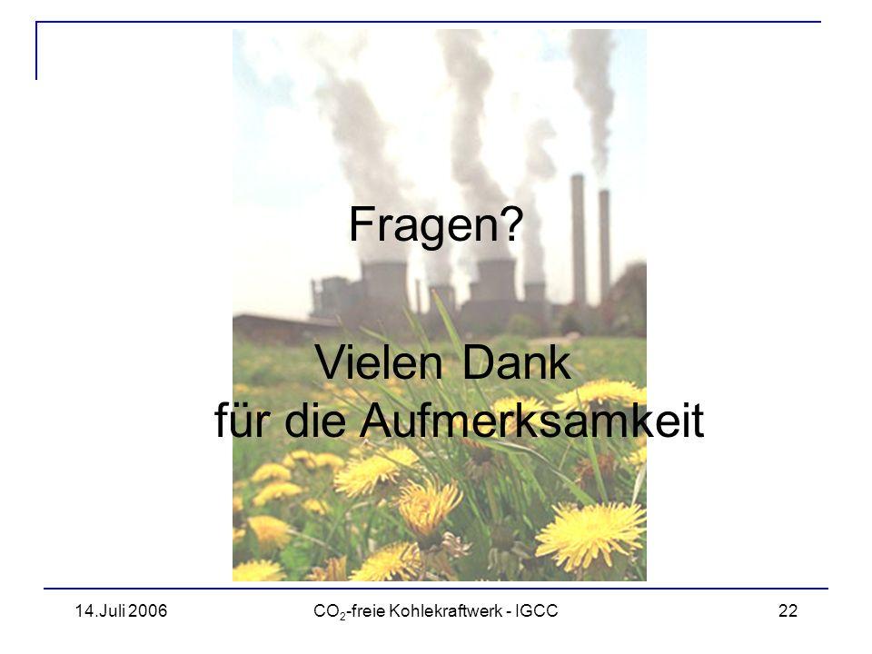 14.Juli 2006CO 2 -freie Kohlekraftwerk - IGCC23 Quellen www.clean-energy.us/facts/igcc.htm BWK, Ausgabe 4/2006 BWK, Ausgabe 11/2005 www.co2-castor.com www.wupperinst.org/ www.dpg-physik.de/info/broschueren/klimastudie_2005.pdf www.rwe.com/generator.aspx/property=Data/id=346512/vgb-beitrag-lambertz- ewers-pdf.pdf www.wsa.rwth-aachen.de/kongress/Files/Lambertz-Die%20RWE- Strategie_zu_CleanCoal_im_europaeischen_Verbund.pps ec.europa.eu/research/energy/pdf/co2storage_presentation2nd_ac_meeting10a ug2005_en.pdf ec.europa.eu/research/energy/pdf/co2capt_en.pdf www.rwe.com/generator.aspx/property=Data/id=213666/download10.pdf www.iea.org//textbase/nppdf/free/2004/weo2004.pdf www.env-it.de/umweltdaten/public/theme.do?nodeIdent=2842 www.wbgu.de/wbgu_sn2006/wbgu_sn2006_voll_5.html www.vgb.org