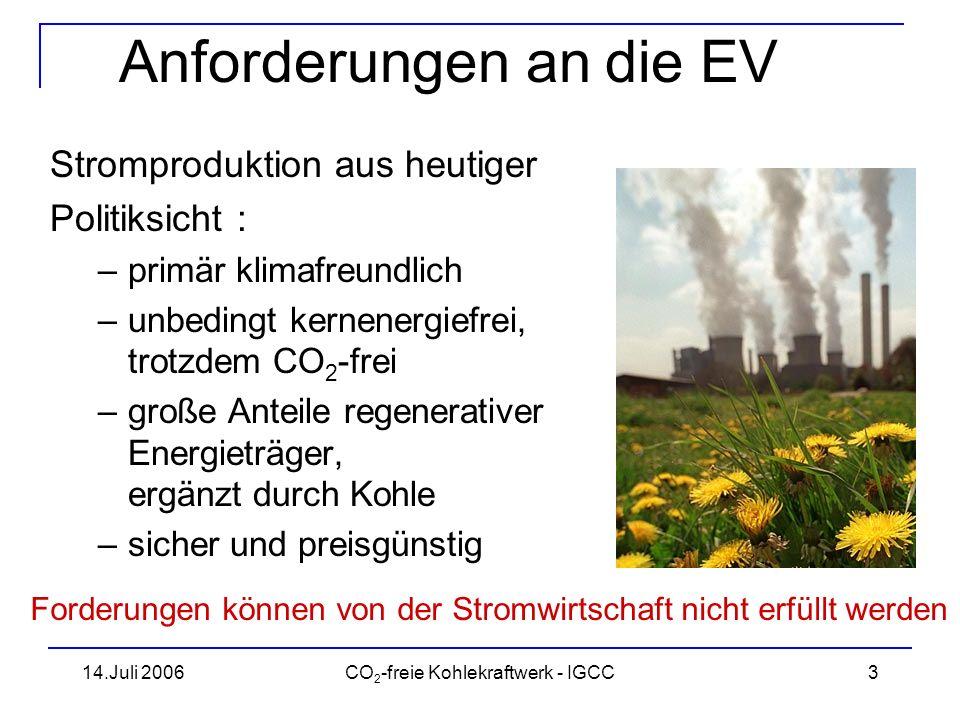 14.Juli 2006CO 2 -freie Kohlekraftwerk - IGCC4 Anforderungen an die EV Quelle: IEA Steigender Weltenergieverbrauch erfordert verstärkten Einsatz fossiler Energieträger Quelle: IEA Weltweite Kohleproduktion