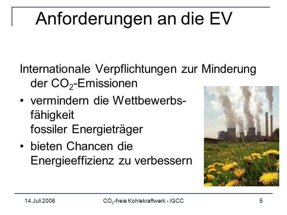 14.Juli 2006CO 2 -freie Kohlekraftwerk - IGCC6 Einfluß der CO 2 -Zertifikate Welche Technik setzt sich durch.