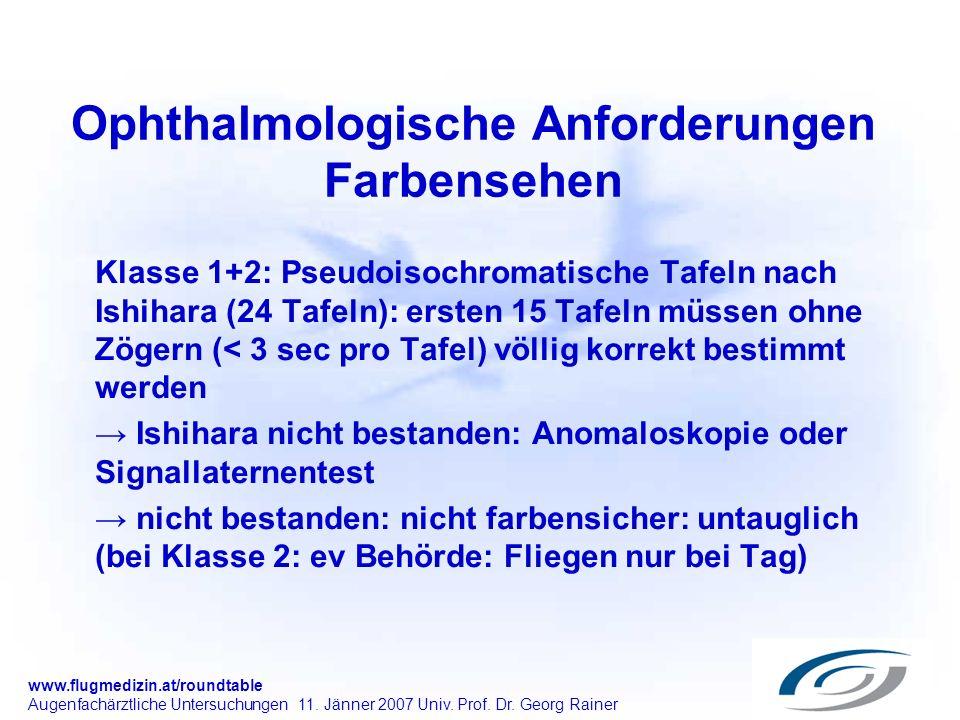 www.flugmedizin.at/roundtable Augenfachärztliche Untersuchungen 11. Jänner 2007 Univ. Prof. Dr. Georg Rainer Ophthalmologische Anforderungen Farbenseh