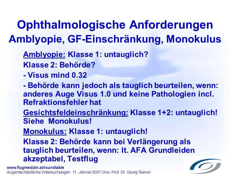 www.flugmedizin.at/roundtable Augenfachärztliche Untersuchungen 11. Jänner 2007 Univ. Prof. Dr. Georg Rainer Ophthalmologische Anforderungen Amblyopie