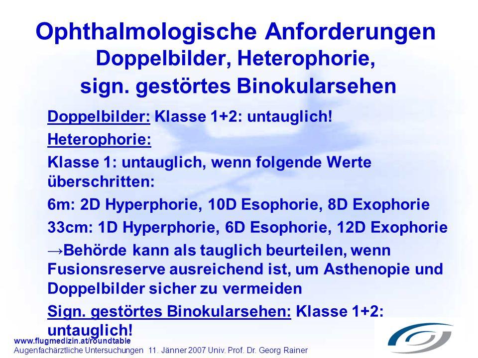 www.flugmedizin.at/roundtable Augenfachärztliche Untersuchungen 11. Jänner 2007 Univ. Prof. Dr. Georg Rainer Ophthalmologische Anforderungen Doppelbil