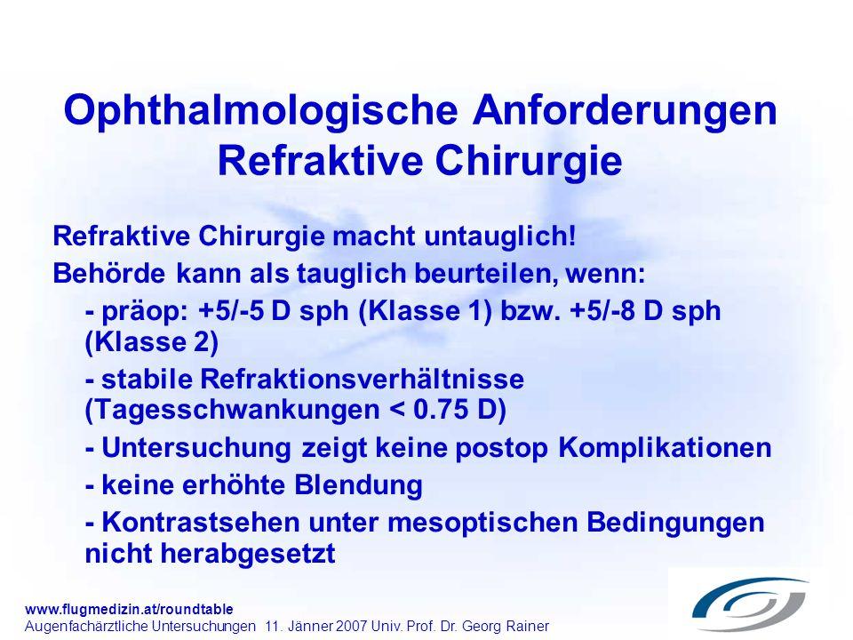 www.flugmedizin.at/roundtable Augenfachärztliche Untersuchungen 11. Jänner 2007 Univ. Prof. Dr. Georg Rainer Ophthalmologische Anforderungen Refraktiv
