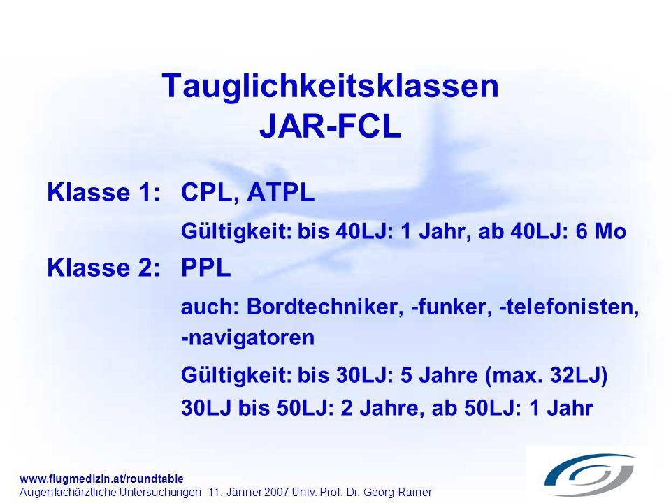 www.flugmedizin.at/roundtable Augenfachärztliche Untersuchungen 11. Jänner 2007 Univ. Prof. Dr. Georg Rainer Tauglichkeitsklassen JAR-FCL Klasse 1: CP