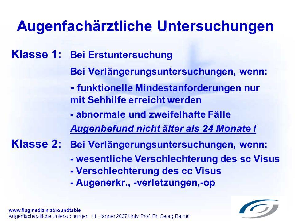 www.flugmedizin.at/roundtable Augenfachärztliche Untersuchungen 11. Jänner 2007 Univ. Prof. Dr. Georg Rainer Augenfachärztliche Untersuchungen Klasse