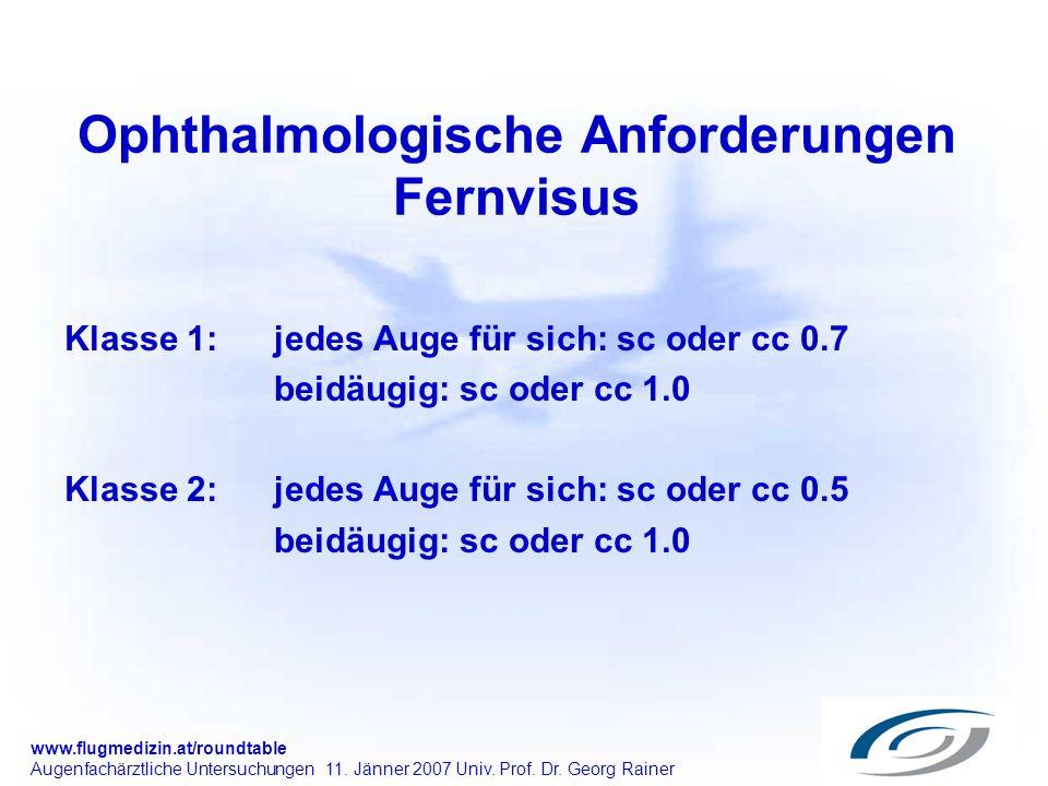 www.flugmedizin.at/roundtable Augenfachärztliche Untersuchungen 11. Jänner 2007 Univ. Prof. Dr. Georg Rainer Ophthalmologische Anforderungen Fernvisus