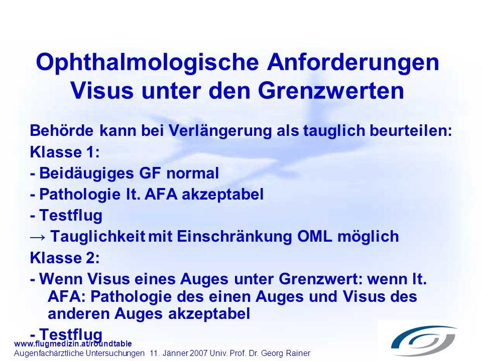 www.flugmedizin.at/roundtable Augenfachärztliche Untersuchungen 11. Jänner 2007 Univ. Prof. Dr. Georg Rainer Ophthalmologische Anforderungen Visus unt