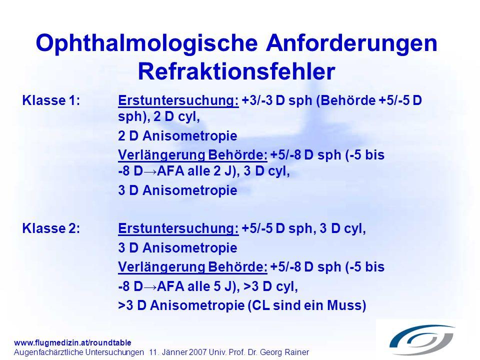 www.flugmedizin.at/roundtable Augenfachärztliche Untersuchungen 11. Jänner 2007 Univ. Prof. Dr. Georg Rainer Ophthalmologische Anforderungen Refraktio