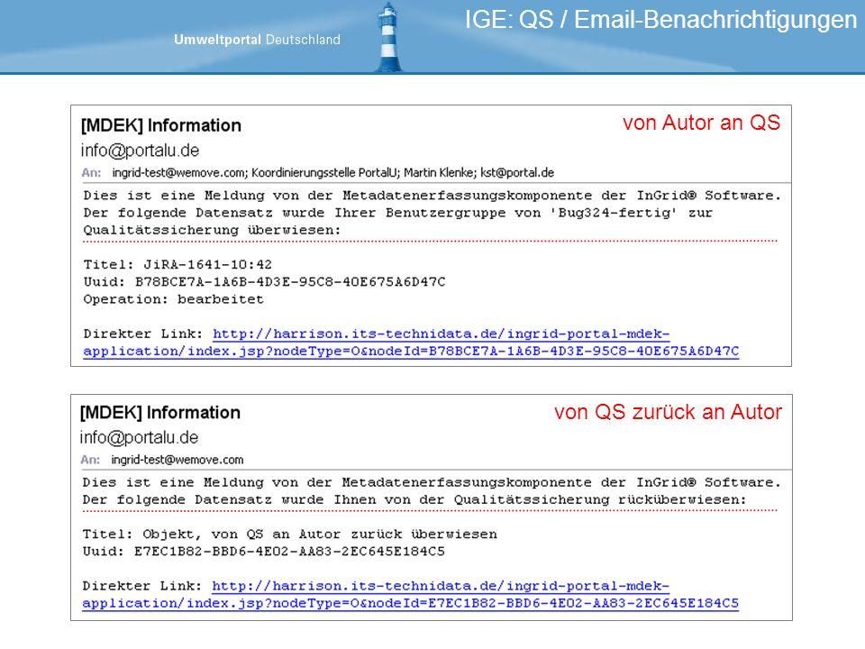 IGE: QS / Email-Benachrichtigungen von Autor an QS von QS zurück an Autor