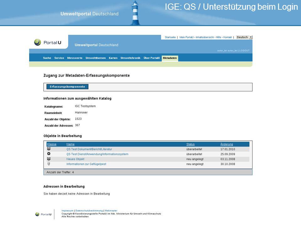 IGE: QS / Unterstützung beim Login