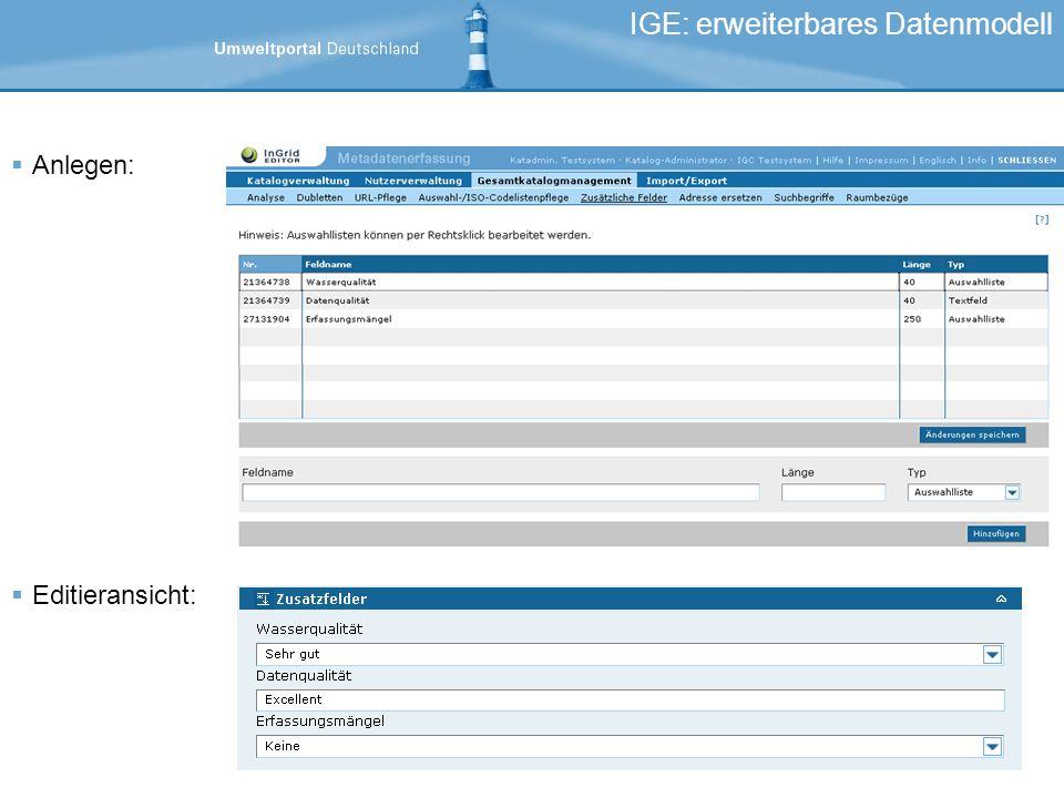 IGE: erweiterbares Datenmodell Anlegen: Editieransicht:
