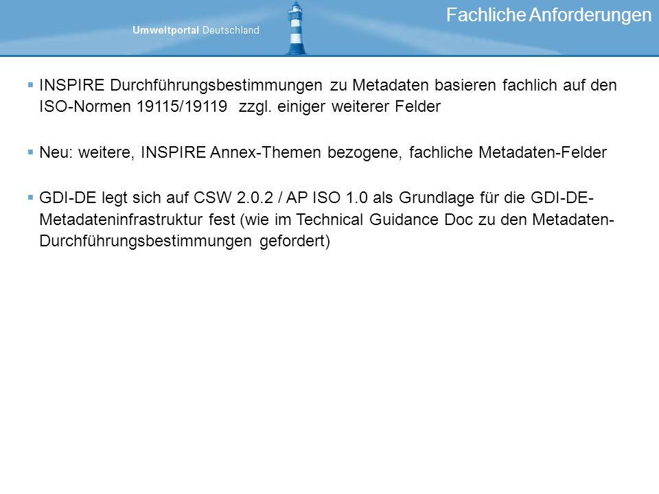 INSPIRE Durchführungsbestimmungen zu Metadaten basieren fachlich auf den ISO-Normen 19115/19119 zzgl. einiger weiterer Felder Neu: weitere, INSPIRE An