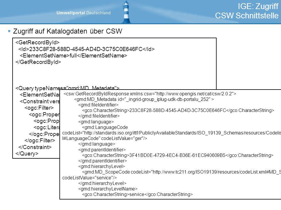 IGE: Zugriff CSW Schnittstelle Zugriff auf Katalogdaten über CSW 233C8F28-588D-4545-AD4D-3C75C0E646FC full full Title Vogelschutzgebiet 233C8F28-588D-