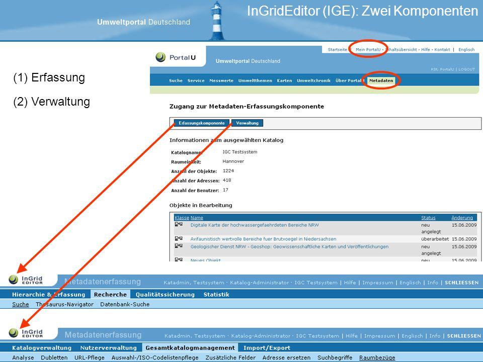 (1)Erfassung (2)Verwaltung InGridEditor (IGE): Zwei Komponenten