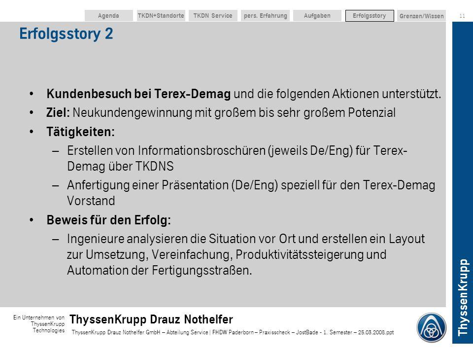 ThyssenKrupp Ein Unternehmen von ThyssenKrupp Technologies ThyssenKrupp Drauz Nothelfer ThyssenKrupp Drauz Nothelfer GmbH – Abteilung Service | FHDW P