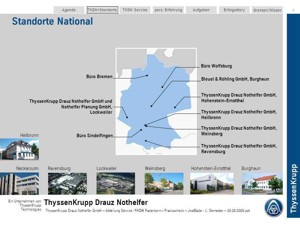 ThyssenKrupp Ein Unternehmen von ThyssenKrupp Technologies ThyssenKrupp Drauz Nothelfer ThyssenKrupp Drauz Nothelfer GmbH – Abteilung Service | FHDW Paderborn – Praxisscheck – JostBade - 1.