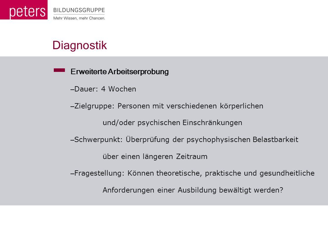 Diagnostik Erweiterte Arbeitserprobung – Dauer: 4 Wochen – Zielgruppe: Personen mit verschiedenen körperlichen und/oder psychischen Einschränkungen –