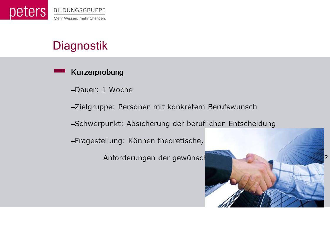 Diagnostik Kurzerprobung – Dauer: 1 Woche – Zielgruppe: Personen mit konkretem Berufswunsch – Schwerpunkt: Absicherung der beruflichen Entscheidung –