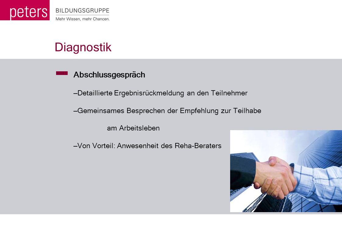 Diagnostik Abschlussgespräch – Detaillierte Ergebnisrückmeldung an den Teilnehmer – Gemeinsames Besprechen der Empfehlung zur Teilhabe am Arbeitsleben