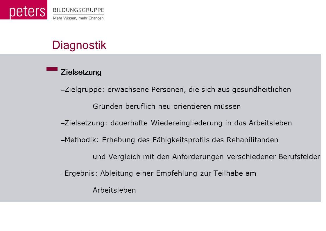 Diagnostik Zielsetzung – Zielgruppe: erwachsene Personen, die sich aus gesundheitlichen Gründen beruflich neu orientieren müssen – Zielsetzung: dauerh