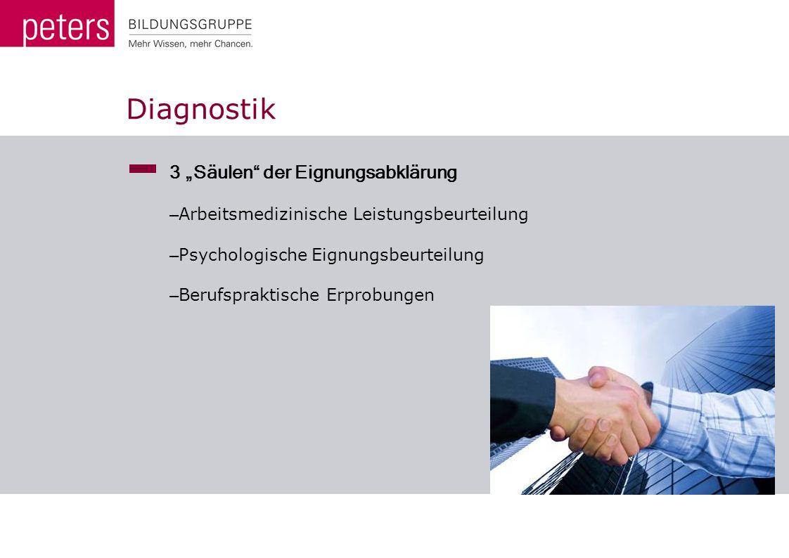 Diagnostik 3 Säulen der Eignungsabklärung – Arbeitsmedizinische Leistungsbeurteilung – Psychologische Eignungsbeurteilung – Berufspraktische Erprobung