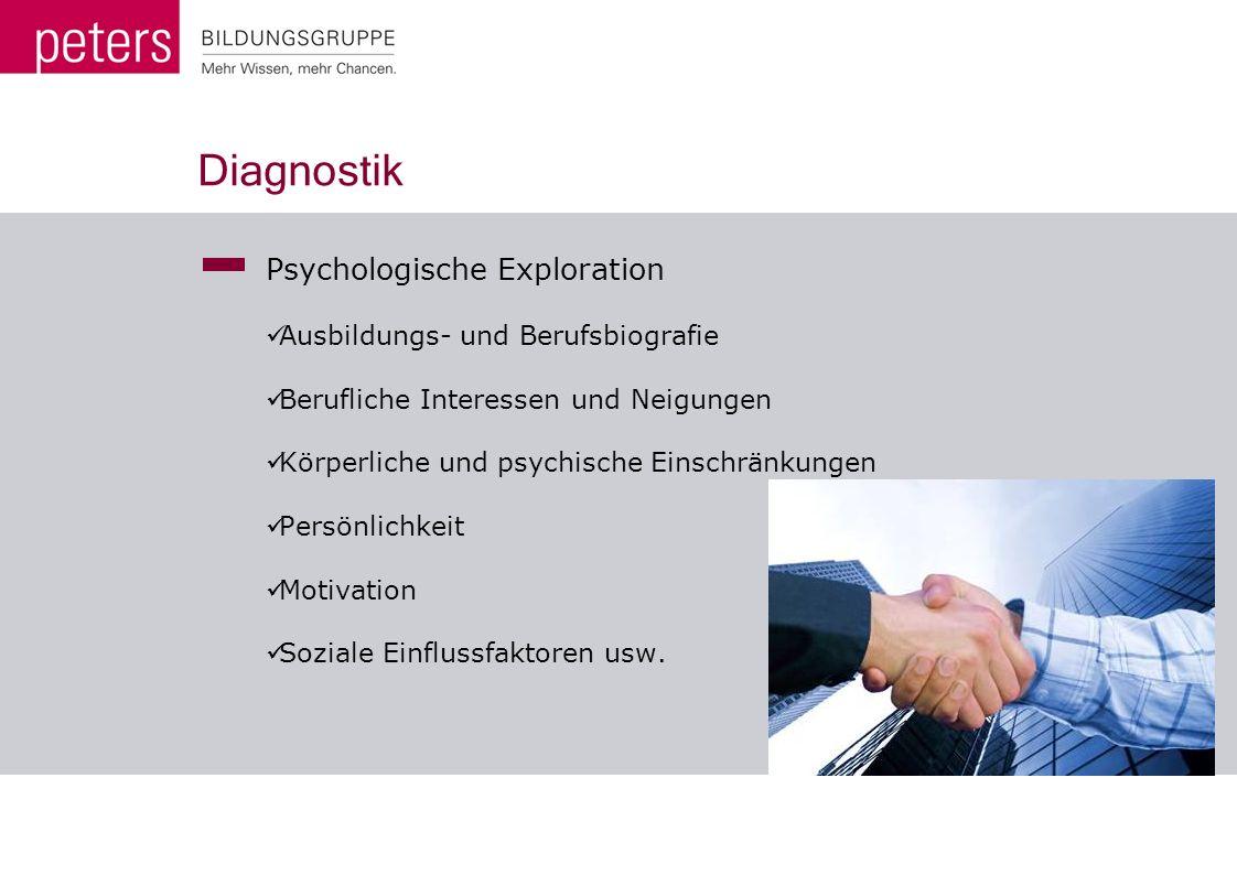 Diagnostik Psychologische Exploration Ausbildungs- und Berufsbiografie Berufliche Interessen und Neigungen Körperliche und psychische Einschränkungen