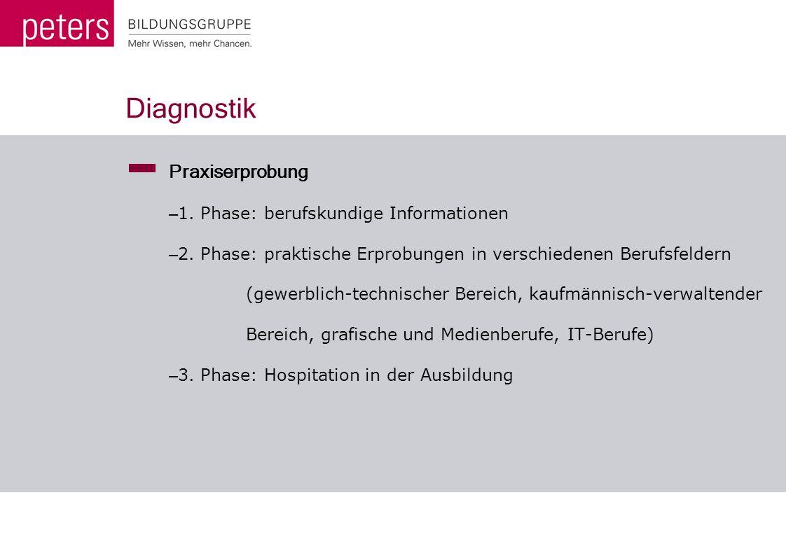 Diagnostik Praxiserprobung – 1. Phase: berufskundige Informationen – 2. Phase: praktische Erprobungen in verschiedenen Berufsfeldern (gewerblich-techn