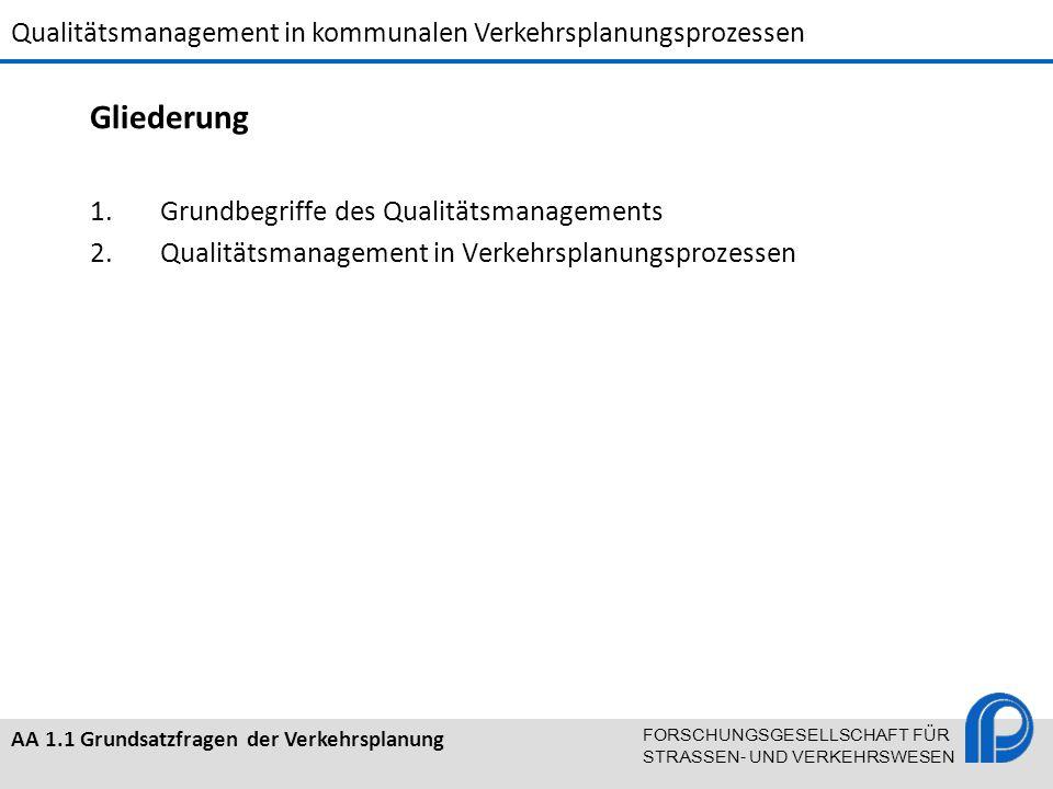 Qualitätsmanagement in kommunalen Verkehrsplanungsprozessen AA 1.1 Grundsatzfragen der Verkehrsplanung FORSCHUNGSGESELLSCHAFT FÜR STRASSEN- UND VERKEH
