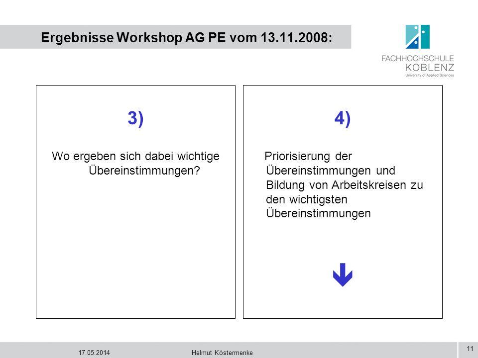 17.05.2014Helmut Köstermenke 11 Ergebnisse Workshop AG PE vom 13.11.2008: 3) Wo ergeben sich dabei wichtige Übereinstimmungen? 4) Priorisierung der Üb