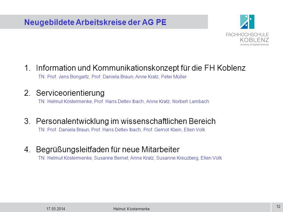 17.05.2014Helmut Köstermenke 12 Neugebildete Arbeitskreise der AG PE 1.Information und Kommunikationskonzept für die FH Koblenz TN: Prof. Jens Bongart