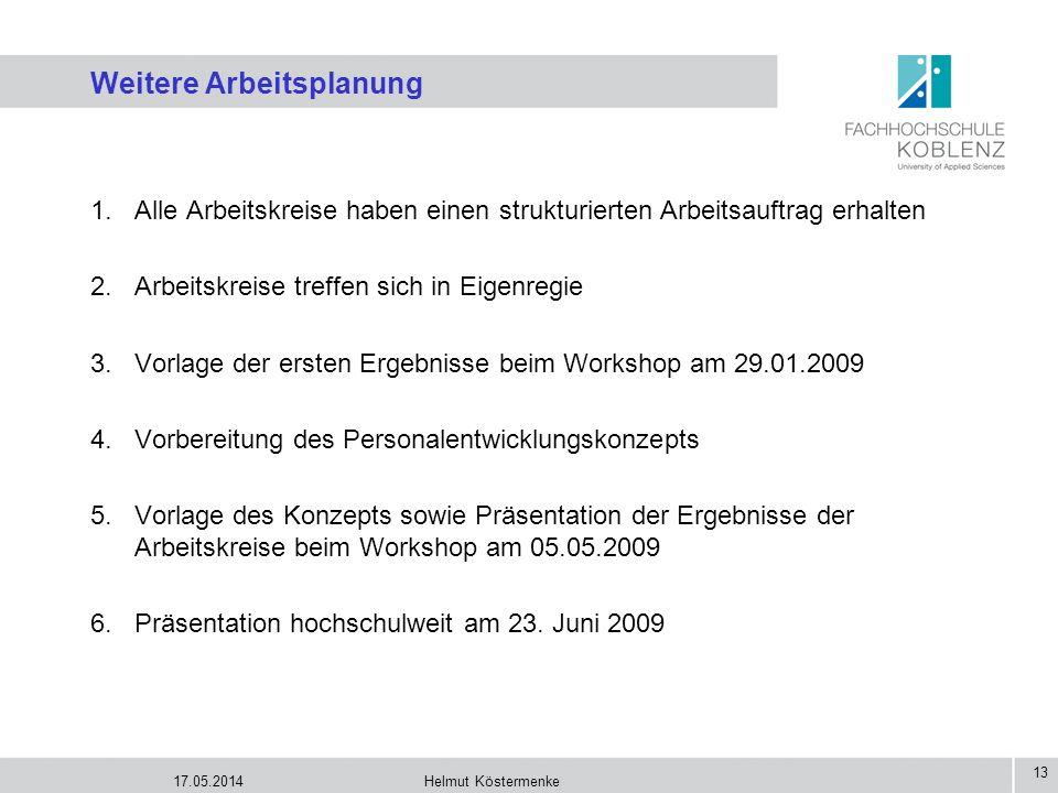 17.05.2014Helmut Köstermenke 13 Weitere Arbeitsplanung 1.Alle Arbeitskreise haben einen strukturierten Arbeitsauftrag erhalten 2.Arbeitskreise treffen