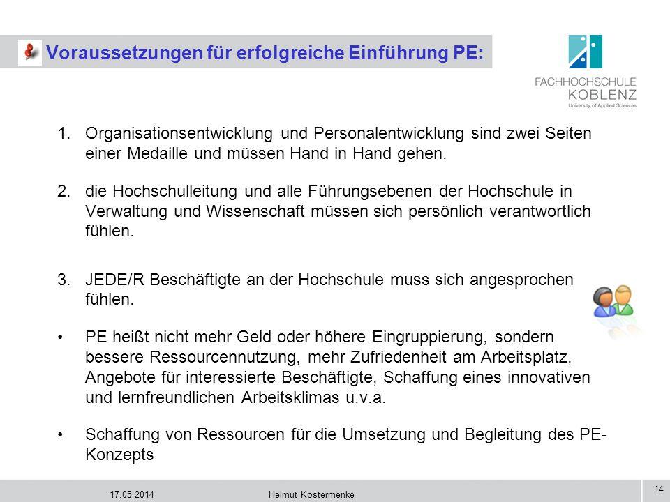 17.05.2014Helmut Köstermenke 14 Voraussetzungen für erfolgreiche Einführung PE: 1.Organisationsentwicklung und Personalentwicklung sind zwei Seiten ei
