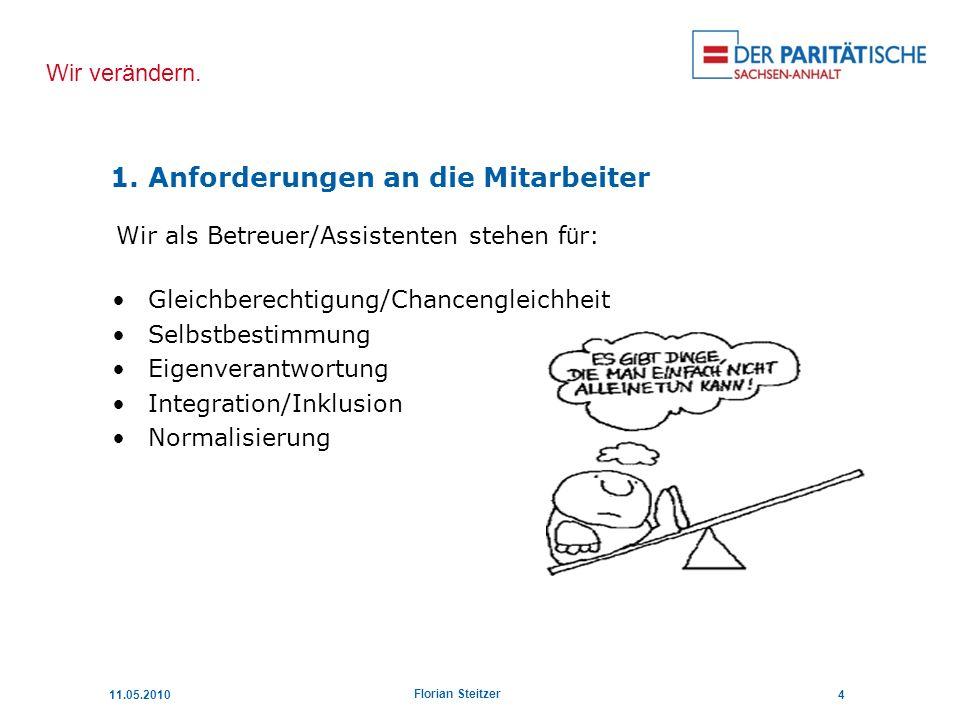 Wir verändern. 11.05.20104 Florian Steitzer Wir als Betreuer/Assistenten stehen f ü r: Gleichberechtigung/Chancengleichheit Selbstbestimmung Eigenvera