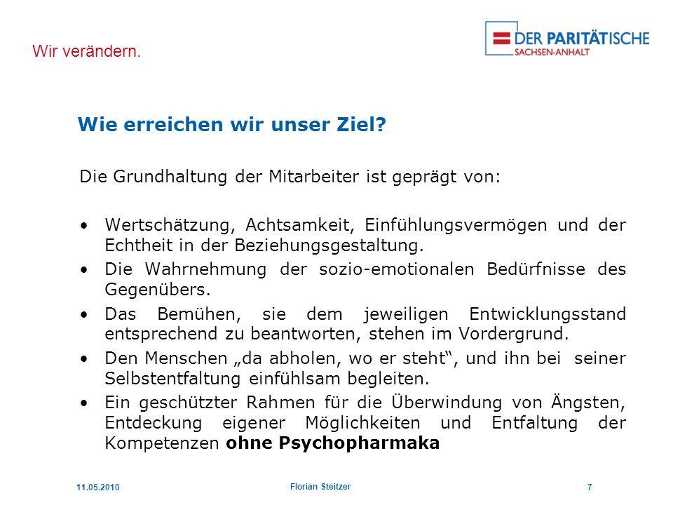 Wir verändern. 11.05.20107 Florian Steitzer Die Grundhaltung der Mitarbeiter ist geprägt von: Wertschätzung, Achtsamkeit, Einfühlungsvermögen und der