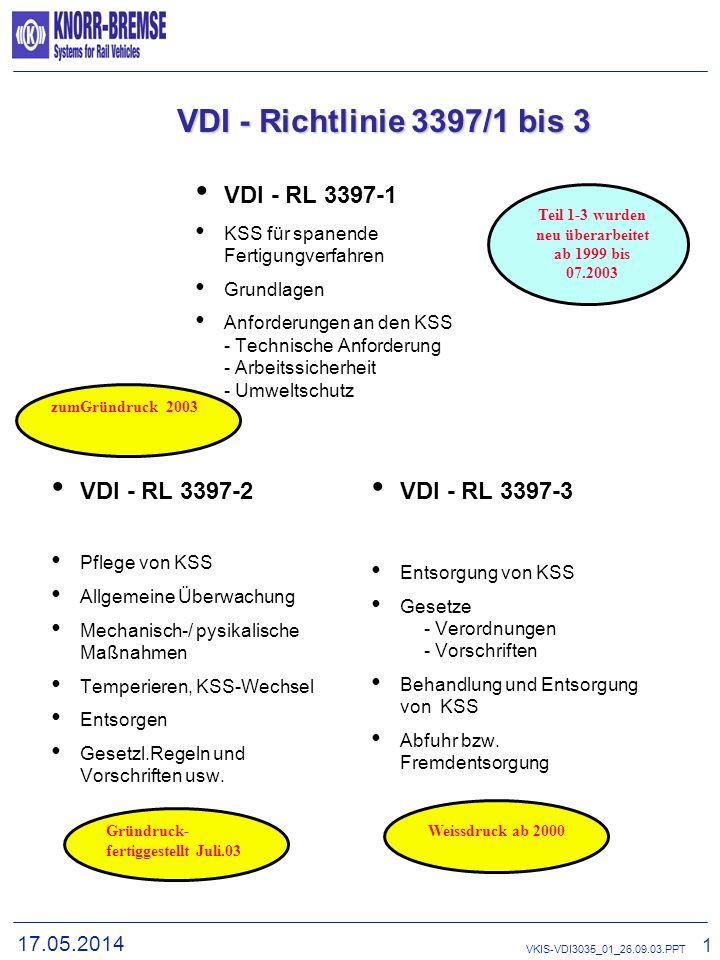 17.05.2014 1 VKIS-VDI3035_01_26.09.03.PPT VDI - Richtlinie 3035 und 3397/1-3 VDI - RL 3035 Anforderungen an WZM beim Einsatz von KSS KSS-Kreislauf Arb