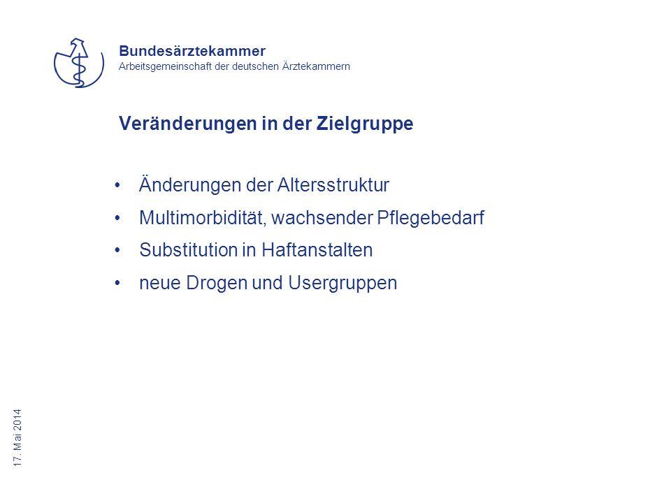 17. Mai 2014 Bundesärztekammer Arbeitsgemeinschaft der deutschen Ärztekammern Veränderungen in der Zielgruppe Änderungen der Altersstruktur Multimorbi