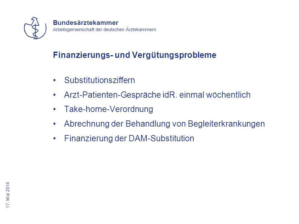 17. Mai 2014 Bundesärztekammer Arbeitsgemeinschaft der deutschen Ärztekammern Finanzierungs- und Vergütungsprobleme Substitutionsziffern Arzt-Patiente