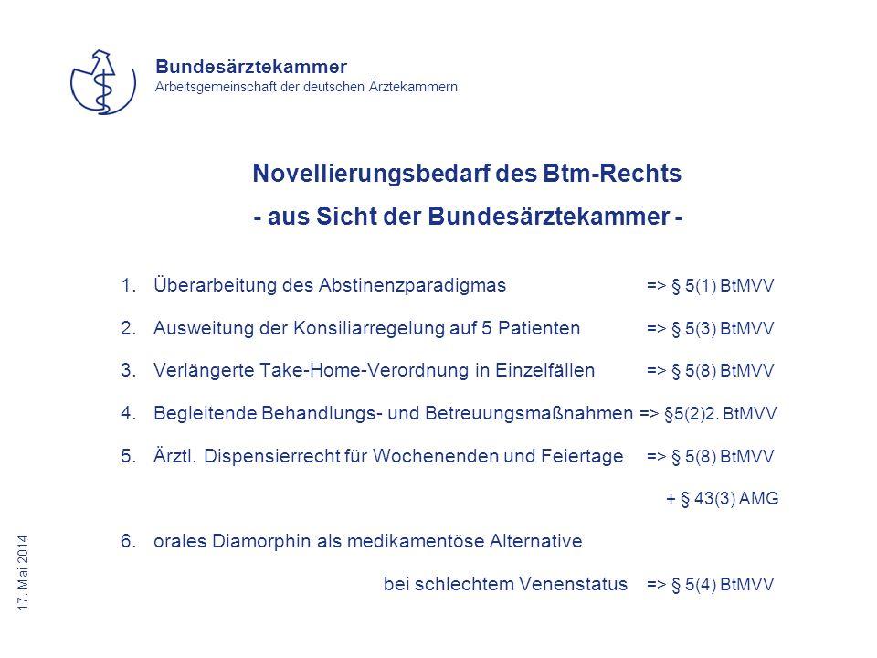 17. Mai 2014 Bundesärztekammer Arbeitsgemeinschaft der deutschen Ärztekammern Novellierungsbedarf des Btm-Rechts - aus Sicht der Bundesärztekammer - 1