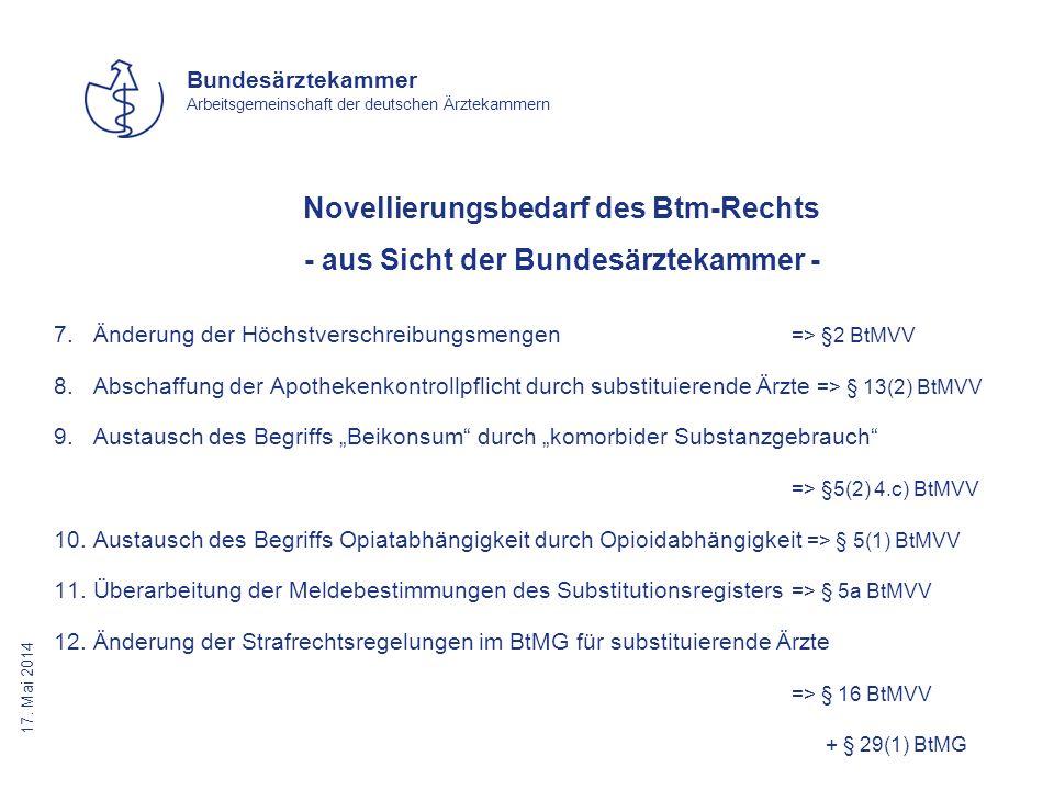 17. Mai 2014 Bundesärztekammer Arbeitsgemeinschaft der deutschen Ärztekammern Novellierungsbedarf des Btm-Rechts - aus Sicht der Bundesärztekammer - 7