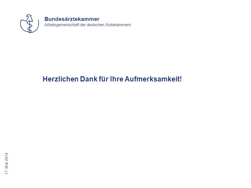 17. Mai 2014 Bundesärztekammer Arbeitsgemeinschaft der deutschen Ärztekammern Herzlichen Dank für Ihre Aufmerksamkeit!