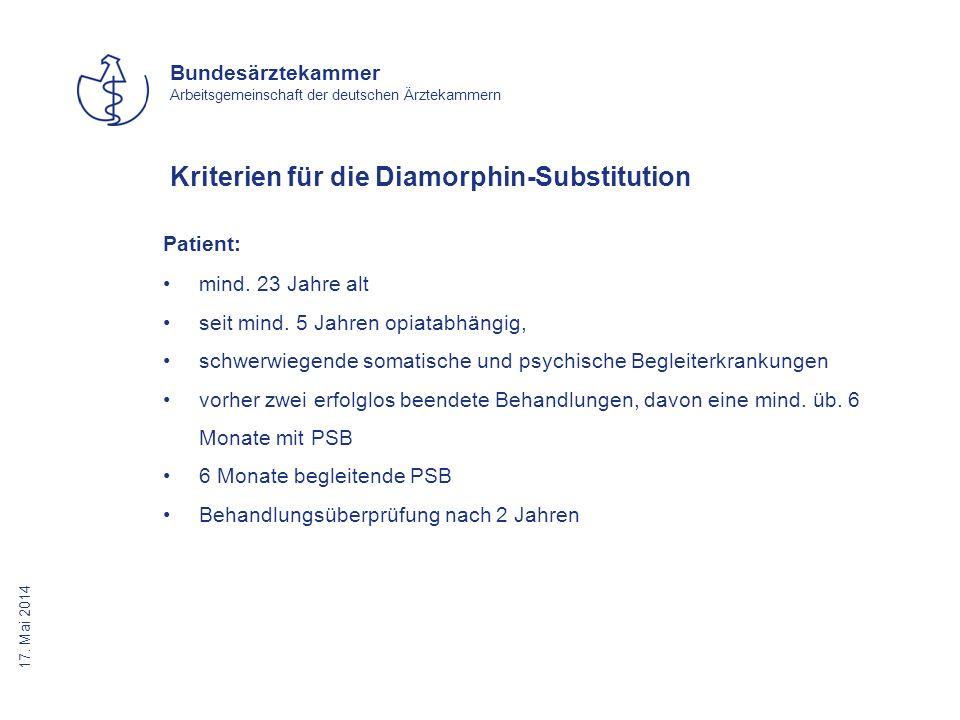 17. Mai 2014 Bundesärztekammer Arbeitsgemeinschaft der deutschen Ärztekammern Kriterien für die Diamorphin-Substitution Patient: mind. 23 Jahre alt se
