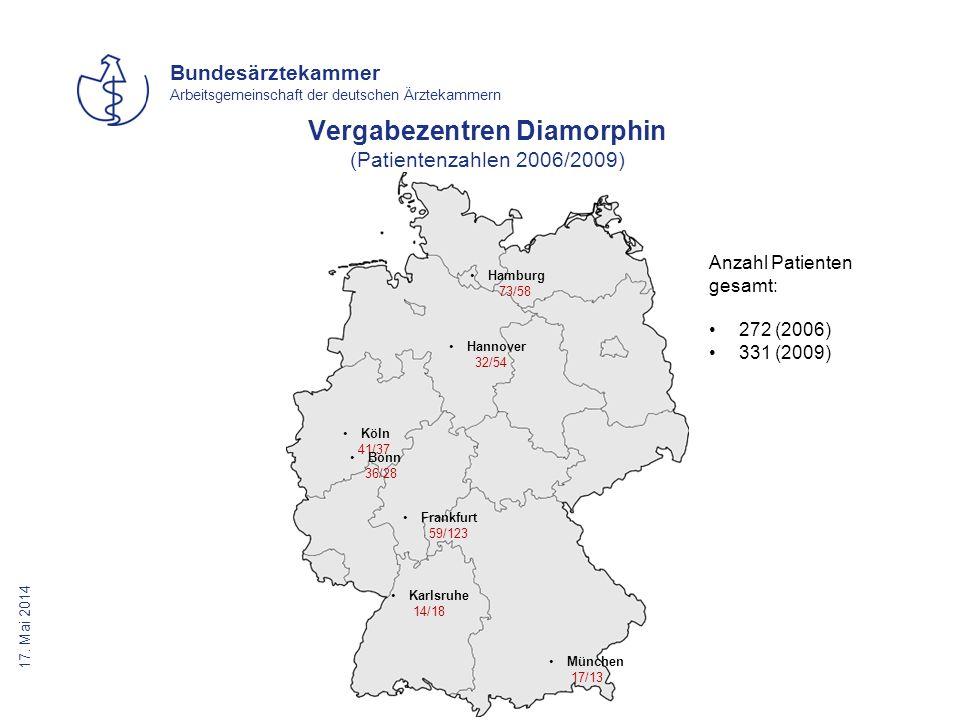 17. Mai 2014 Bundesärztekammer Arbeitsgemeinschaft der deutschen Ärztekammern Vergabezentren Diamorphin (Patientenzahlen 2006/2009) München 17/13 Hamb