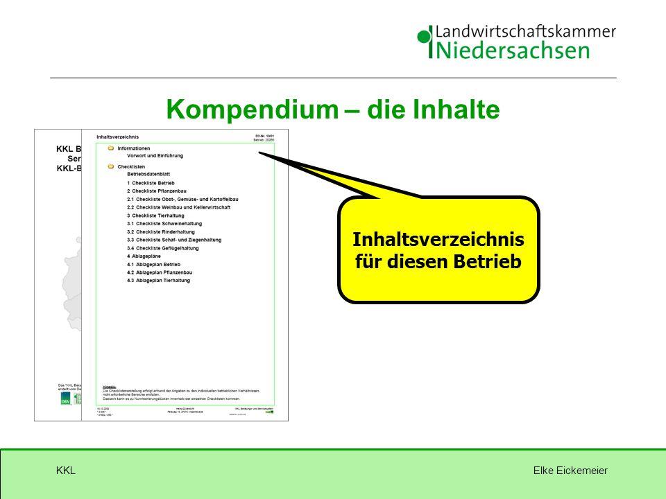 Elke EickemeierKKL Inhaltsverzeichnis für diesen Betrieb Kompendium – die Inhalte