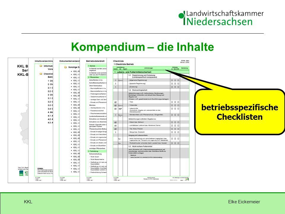 Elke EickemeierKKL betriebsspezifische Checklisten Kompendium – die Inhalte