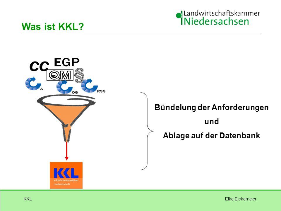 Elke EickemeierKKL Was ist KKL? Bündelung der Anforderungen und Ablage auf der Datenbank
