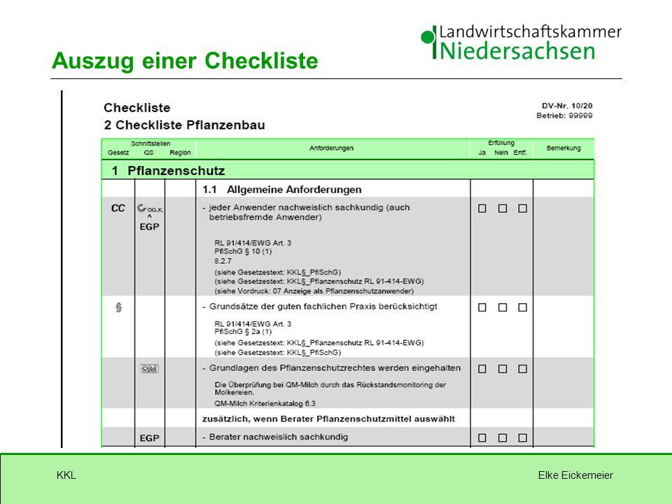 Elke EickemeierKKL Auszug einer Checkliste