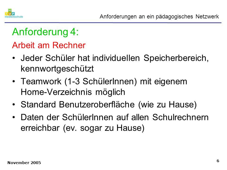 November 2005 6 Anforderungen an ein pädagogisches Netzwerk Anforderung 4: Arbeit am Rechner Jeder Schüler hat individuellen Speicherbereich, kennwort