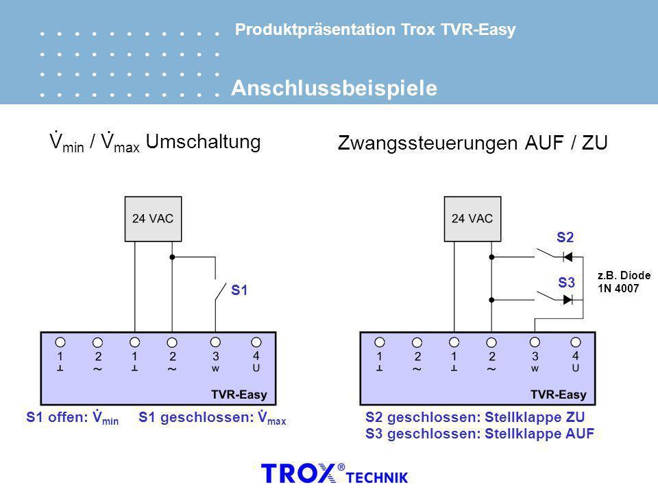 Produktpräsentation Trox TVR-Easy Anschlussbeispiele V min / V max Umschaltung.. S1 Zwangssteuerungen AUF / ZU S2 S3 z.B. Diode 1N 4007 S1 offen: V mi